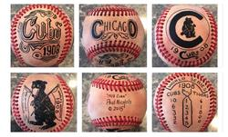 Chicago Cubs 1908 Hand Painted Baseball