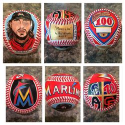 Miami Marlins hand painted baseballs