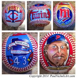 Minnesota Twins, hand painted, baseball