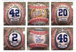 "Yankees ""Big 4"" Hand Painted Baseball, Core Four, Posada, Jeter, Pettite, Rivera"