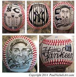 Yankees hand painted baseball