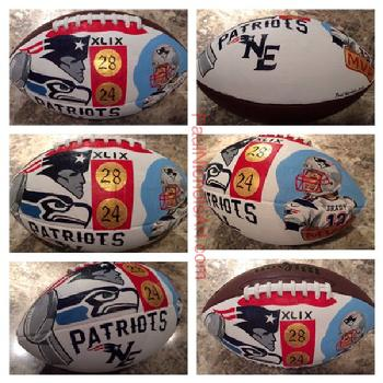 New England Patriots, Seattle Seahawks, Tom Brady painting